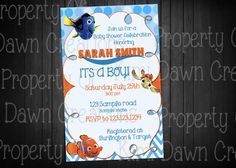 Good Finding Nemo Birthday Party Invitation. Size: Your Choice Of 4x6 Or 5x7  This Is. Baby Shower ...