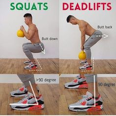 Squats vs Deadlifts proper position !! Join us @trainingfact for more workout tips Tag a friend who'd like this tip