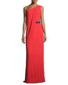 Halston Heritage One-Shoulder Belted Column Gown