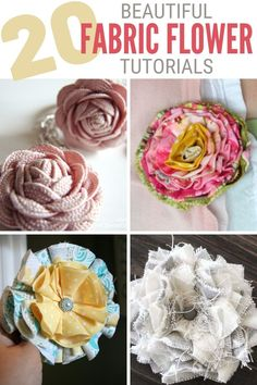 These 20 Easy Fabric Flower Tutorials will get you creating for weddings, home decor, and more! Click here for all of the tutorials! ? #thecraftyblogstalker #fabricflowers #diyfabricflower #easyfabricflowers Easy Fabric Flowers, Material Flowers, Fabric Flower Brooch, Fabric Flower Tutorial, Diy Flowers, Fabric Roses Diy, Flower Diy, Flower Making, Paper Flowers