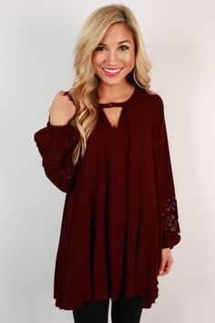 Sway With Me Tunic in Maroon