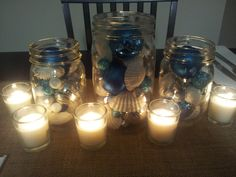 Shells / ornaments in mason jars for Christmas centerpiece