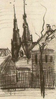 Catharina's Church at Eindhoven - Vincent van Gogh . Created in Nuenen in February, Located at Van Gogh Museum. Find a print of this Pencil Drawing Arte Van Gogh, Van Gogh Art, Art Van, Vincent Van Gogh Obras, Vincent Willem Van Gogh, Van Gogh Drawings, Van Gogh Paintings, Eindhoven, Paul Gauguin