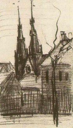 St. Catharina's Church at Eindhoven, 1885, Vincent van Gogh Medium: pencil on paper