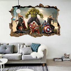 Jewh Cartoon Movie Avengers Wall Stickers Kids Rooms - Home Decor Effect Decorative Wall Decals - DIY Mural Art PVC Posters Art - Best Seller List 3d Sticker, Wall Stickers 3d, Wall Decals, Floor Stickers, 3d Wall Murals, Art Mural, Decoration, Art Decor, Avengers Bedroom