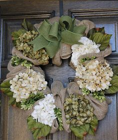 Spring Easter wreath Burlap wreath Hydrangea by theembellishedhome
