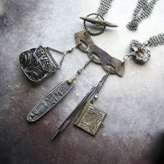 Chatelaine assemblage necklace with vintage by anvilartifacts