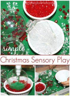 Sand Ornament sensory play Christmas Sensory Bin