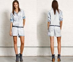 (5) Reading Longsleeve Japanese Chambray Jumper Bleach Out One Piece Long Sleeve Playsuit - rag & bone 2013 Spring April Womens Denim Picks - One Piece Playsuit Rompers, Jeans, Denim Shorts & Shirt