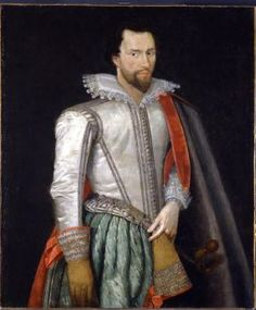 Oil Painting - Sir Thomas Holte (1571-1654), 1st Baronet of Aston Hall. His family was influential in Warwickshire. Knighted by James I.  Defended Aston Hall v. 1200 Roundhead troops allowing his guest, Charles I to escape. Irascible: disowned his heir said to have locked rebellious daughter in closet to starve.  Ancestor of Shuckburgh baronets.
