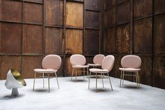 Inspired by the work of minimalist artist Ellsworth Kelly, this collection of essential dining chairs feature a slender metal frame and a padded shell with a simple, linear shape. Ellsworth Kelly, Living Room Chairs, Dining Chairs, Arm Chairs, Lounge Chairs, Accent Chairs, High Back Chairs, Chair Fabric, Upholstered Chairs