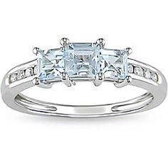 Miadora 10k White Gold Aquamarine and 1/10ct TDW Diamond Ring (H-I, I2-I3) | Overstock.com Shopping - The Best Deals on Gemstone