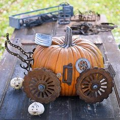 Pumpkin Carriage made from Scrap.....check out the mice!