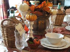 Gorgeous Tablescape. Little pumpkins on a pedestal--what a great idea! http://www.hgtv.com/entertaining/15-stylish-thanksgiving-table-settings/pictures/page-5.html?soc=pinterest