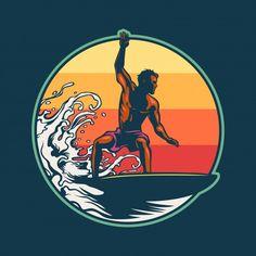 Vintage Surf, Vintage Hawaii, Beach Cartoon, Alice In Wonderland Drawings, Summer Logo, Surf Logo, Wave Illustration, Sunset Surf, Doodle