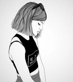 outline, girl, and grunge image