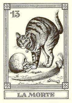 """""""La Morte"""" 1990 'Il Gatti Meneghello' Italian Engraved Cat Tarot Fortune Telling Cards"""
