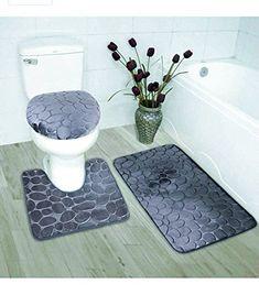 chaqlin Customized Your Photos Flannel Non Slip 3 Piece Toilet Carpet//Contour//Lid Cover