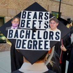 Bears, beets, bachelor's degree - The Office Jim and Dwight graduation cap quote decoration #SUUGrad