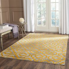 Safavieh Porcello Contemporary Geometric Light Grey/ Yellow Rug (5'2 x 7'6)