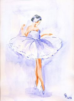Watercolor Art Print 8x10 of an original watercolor Ballerina Dancer Ballet  sarah