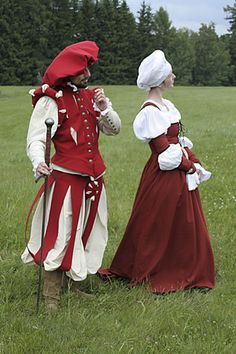 "Soldier's garment after Cesare Vecelio's pictures (about Man is dressed in wams, jerkin and plunders. German dress of middleclass woman is made of woolen fabrics trimmed with black velvet band. German ""cushion"" headdress was popular in Poland also. Renaissance Mode, Renaissance Costume, Medieval Costume, Renaissance Fashion, Renaissance Clothing, Historical Costume, Historical Clothing, Medieval Dress, Mens Garb"