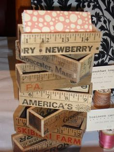Whether you have business cards set out in your store, in a friend's business, or at a craft fair, draw attention by making a DIY business card holder! Craft Stick Crafts, Wood Crafts, Diy Crafts, Ruler Crafts, Business Card Holders, Business Cards, Business Marketing, Content Marketing, Affiliate Marketing