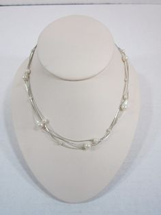 """Vintage Necklace 3 Strand Faux Pearl Silver Tone 14"""" Costume Jewelry #jewelry #necklace #ebay"""