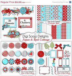 SAVE 50% Aqua & Red Cottage Digital Scrapbook by DigiScrapDelights