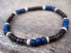 Mens surfer bracelet bone and coconut beads by thehappymushroom, £5.50
