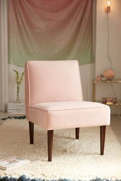 Velvet and millennial pink are gracing homes and spaces anywhere. It's a versatile fabric, and light enough pop of color to really make any room instantly stylish. Urban Outfitters furniture checks off every boho to mid-century modern style inspiration you may need. Their Montclair Velvet Chair is definitely on our list. #affiliate