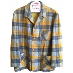 Plaid Flannel Blazer Jacket Wool mens vintage womens lapel mustard yellow grey black white oversized chunky pockets hipster rad pendleton by VELVETMETALVINTAGE on Etsy