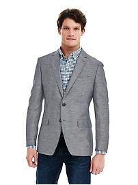 Modern Slim Navy Cotton Linen Blazer