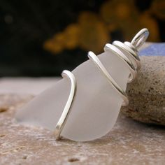 Beachcombing In Paradise Pendant With Authentic White Sea Glass | Out Of The Blue Sea Glass Jewelry