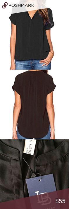 """Women Chiffon Blouse V Neck Short Sleeve This lightweight top pairs a silky woven material with exquisitely cuffed short sleeves, a deep V-neckline, and a rounded hemline. Loose fitted and slightly sheer. Well received by modern women for most occasions from office work to daily life.   Size Chart:  S(US 4-6): Fit Bust 34""""-35""""-Shoulder 14.2""""-Length 26.0""""  M(US 8-10): Fit Bust 36""""-36.5""""-Shoulder 14.6""""-Length 26.8""""  L(US 12-14): Fit Bust 37""""-39""""-Shoulder 15.0""""-Length 27.2""""  XL(US 16): Fit Bust…"""