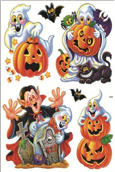 2012 happy halloween holiday room window decoration vinyl window stickers devil owl pumpkin - Window Clings Halloween