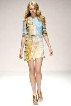 basso & brooke, london fashion week, spring 2011. love the print on this dress! it almost looks like a map, or a watercolor painting.