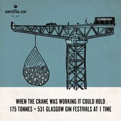 Back in its heyday the Finnieston crane could lift a massive 175 tons. Thats the weight of over 530 festivals worth of gin!  #GinFestival #GinFestivalGlasgow #GinFestival2017 #Gin #GinLove #AllTheGin #Glasgow #Clydebank #LovegIN #Ginstagram #Ginspiration #Ginspire