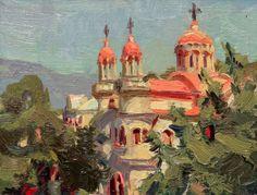 "Little Church from Mais, Greece || Scott Burdick,  oil on canvas  6 x 8"""
