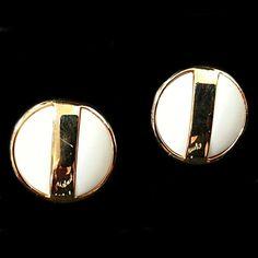 Avon Summerset Earrings Vintage White Lucite Gold by RomeoetJuliet, $11.99