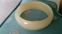 LOVELY BANGLE BRACELET GLASS OR STONE SEMI TRANSLUCENT LIGHT TAN #Glass Stone #Bangle