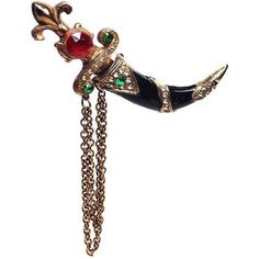 Thief of Bagdad Dagger Double Brooch ($220) ❤ liked on Polyvore featuring jewelry, brooches, brooch, brooches & lapel pins, rhinestone broach, rhinestone brooch, chains jewelry, clear jewelry and clear crystal jewelry