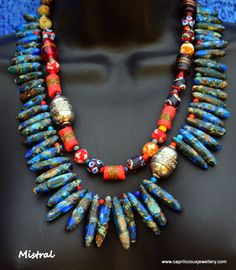 Mistral - two strand sea sediment jasper necklace by Caprilicious Jewellery