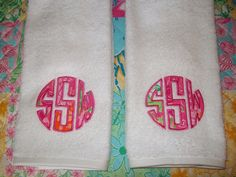 Monogrammed towels with lilly pulitzer fabric.
