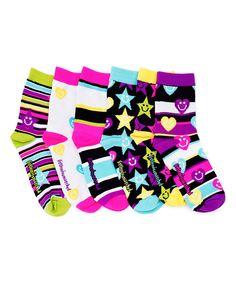 Loving this Pink & Black Stars & Hearts Socks Set on #zulily! #zulilyfinds