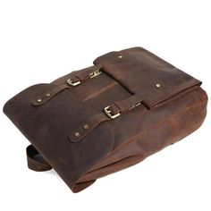 ROCKCOW Handmade Genuine Leather Travel Backpack Leather Backpack Weekend Bag 9452