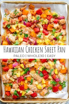 This Hawaiian Chicken Sheet Pan Meal is an easy and delicious recipe that comes together in no time. It's made with Whole food ingredients and is paleo friendly and Whole30 compliant. #sheetpanmeals #whole30 #whole30recipes #paleo #paleorecipes #hawaiianchicken Paleo Recipes, Healthy Dinner Recipes, Cooking Recipes, Paleo Food, Main Meal Recipes, Easy Paleo Meals, Quick Food Recipes, Healthy Weeknight Dinners, Healthy Chicken Dinner