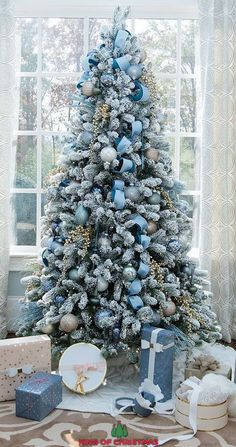 tree blue Beautiful Foot King Flock Christmas Tree With LED Lights. Thank You bluegraygal for the gorgeous setup!christmas tree blue Beautiful Foot King Flock Christmas Tree With LED Lights. Thank You bluegraygal for the gorgeous setup! Blue Christmas Tree Decorations, Elegant Christmas Trees, White Christmas Trees, Christmas Home, Flocked Christmas Trees Decorated, Christmas Villages, Victorian Christmas, Christmas Christmas, Christmas Trees