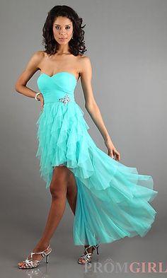 Wish | Strapless Sweetheart Layered Ruffle High Low Dress