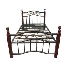Metal Bed with Deep Cherry Legs in Hammerton Bronze Size: Twin